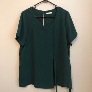 Pleione Forest Green Side Tie short sleeve blouse.